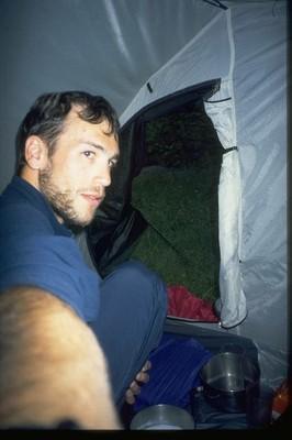 Im Zelt , und draussen regnets in Strömen...